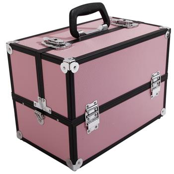 SM-2083 Aluminum Alloy Makeup Train Case Jewelry Box Organizer Pink