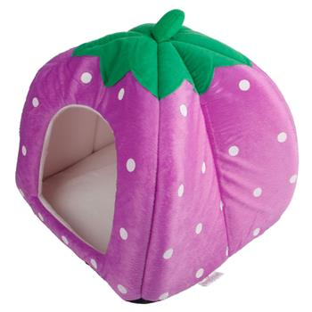 Soft Cotton Cute Strawberry Style Multi-purpose Pets Dog Cat House Nest Yurt Size M Purple