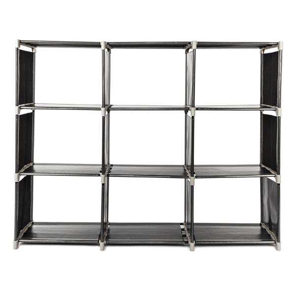 Zimtown 3-Tier Shoes Rack Multifunctional Assembled 9 Compartments Storage Shelf (Black)