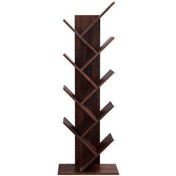 9-Shelf Bookcase Rack, Free Standing Book Storage Organizer,Wooden Tree Bookshelf,Storage for Books, Movies, Video Games, and CDs,Brown Color