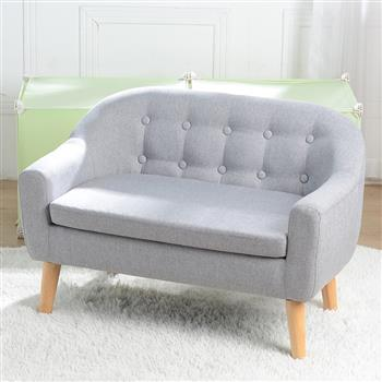 Children's Single Sofa with Sofa Cushion Removable and Washable Linen Gray