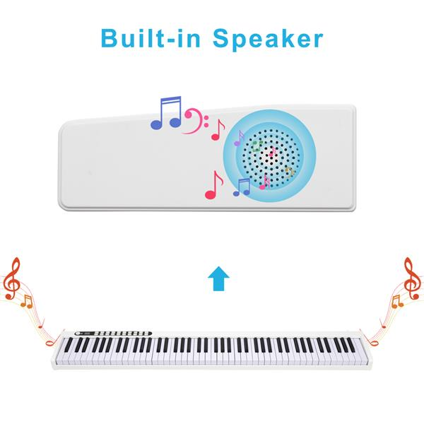 GPP-101 88 Keys Digital Home Piano Built-In Dual Speakers, Built-In Rechargeable Battery , Bluetooth , USB Out Or Midi Out, Piano Bag For Beginners Gift White