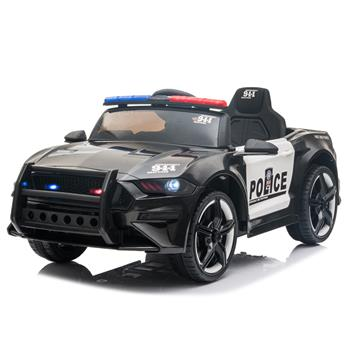 12V Kids Ride On Car ,Police sports car,2.4GHZ Remote Control,LED Lights,Siren,Microphone,Black