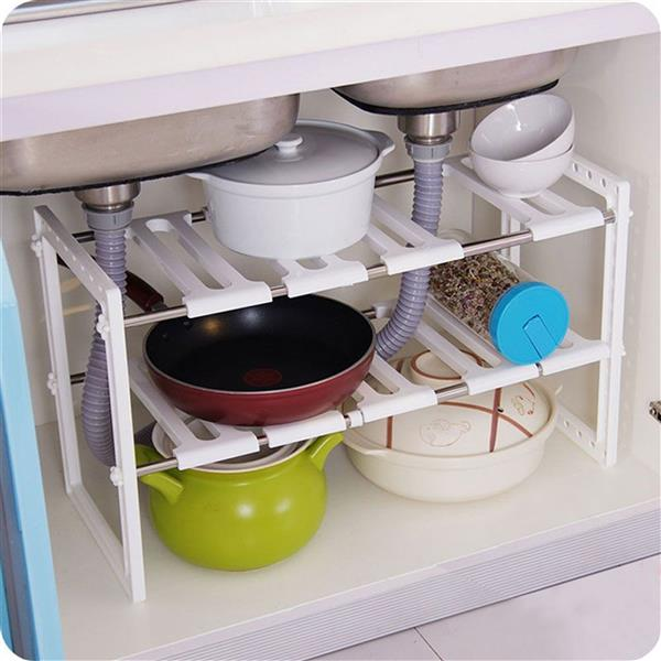 Classic Korean-style Stainless Steel Multi-functional Kitchen Sink Rack White