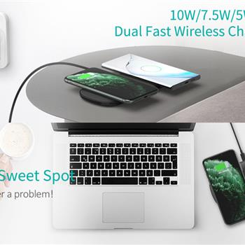 Ban on Amazon platform salesCHOETECH Dual Wireless Charger (QC3.0 Adapter included), 5 Coils Qi Certified Fast Wireless Charging Pad Compatible with iPhone 11 11Pro/11Pro Max/XS