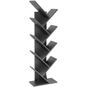 9-Shelf Bookcase Rack, Free Standing Book Storage Organizer,Wooden Tree Bookshelf,Storage for Books, Movies, Video Games, and CDs,Black Color