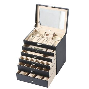 5-Storey Luxury Jewelry Box With MIRRO, Necklaces, Earrings, Sunglasses, Bracelets, Watches, Etc, Black