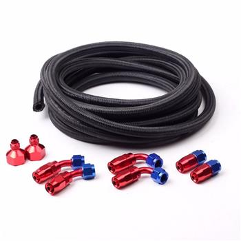 Universal 12ft AN-6 Black Nylon Braided Hose with 6pcs Red & Blue Hose Ends and 2pcs AN-6 to AN-10 F