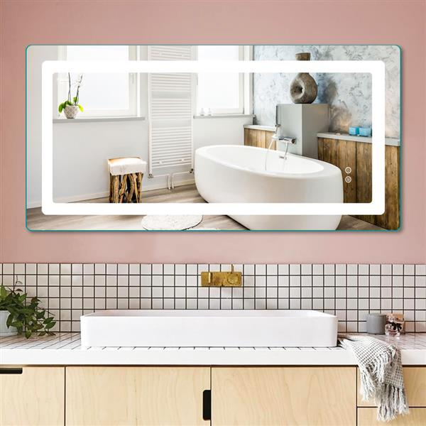 Intelligent LED Bathroom Mirror Double Key Mode Single White Dimming And Environmental Protection High Definition Silver Mirror Fog Proof LED Lamp