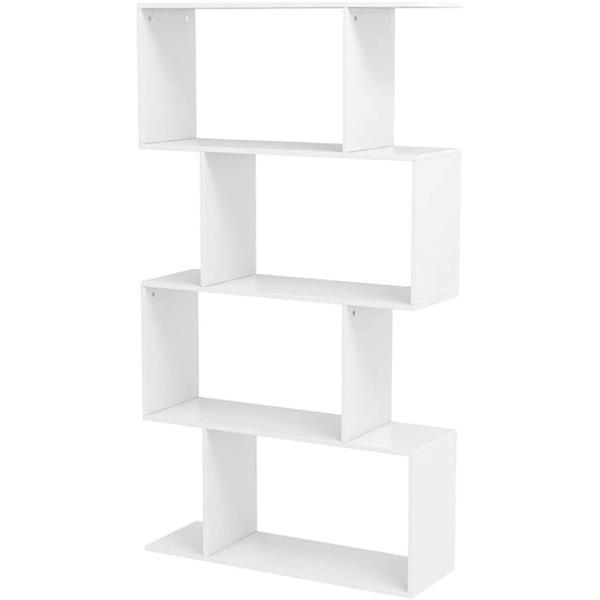4 Shelf Bookcase, Modern S-Shaped Z-Shelf Style Bookshelf, Multifunctional Wooden Storage Display Stand Shelf for Living Room, Home Office, Bedroom, Bookcase Storage Shelf