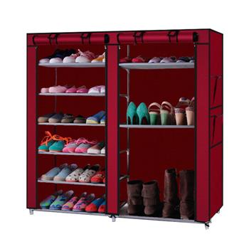 Double Rows 9 Lattices Combination Style Shoe Cabinet Wine Red