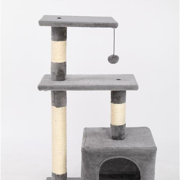 """32"""" Cat Tree Stand House with Scratching Posts Gray"""