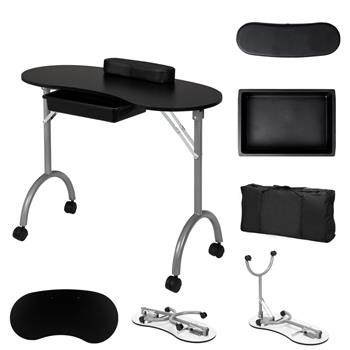 Portable Spa Beauty Manicure Station/MDF/With Hand Pillow/Bag Black (No Pattern)