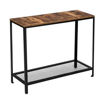 HODELY Modern Industrial Wood Grain 2 Floors 40-Inch Rectangle Wrought Iron Sofa Table