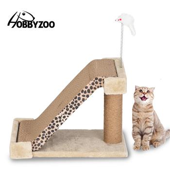 HOBBYZOO Cat Climbing Tree Cat Scratch Board Two-in-One Leopard Mark with Catnip