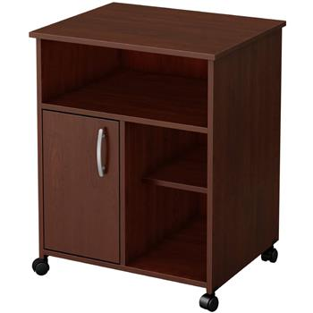Printer Stand with Door Storage Office Cabinet, Wooden Under Desk Printer Cart Cabinet with Wheels Brown Color