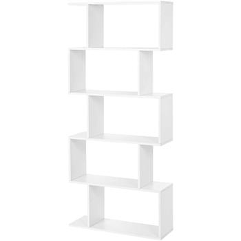 5 Shelf Bookcase, Modern S-Shaped Z-Shelf Style Bookshelf, Multifunctional Wooden Storage Display Stand Shelf for Living Room, Home Office, Bedroom, Bookcase Storage Shelf