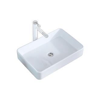 Bathroom Above Counter Rectangular Ceramic Vessel Vanity Sink Art Basin - White Porcelain - with Pop Up Drain Stopper