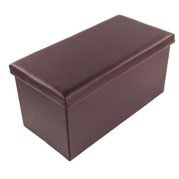 F-01L Practical PVC Leather Square Shape Footstool Brown