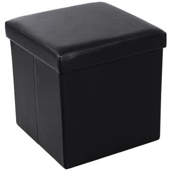 FL-01S Practical PVC Leather Square Shape Footstool Black