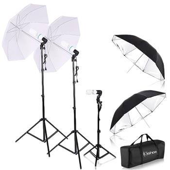 "Kshioe Spiral Shape 45W Three Lights 33"" White Umbrellas 33"" Silver Black Umbrellas Three Holders Se(Do Not Sell on Amazon)"
