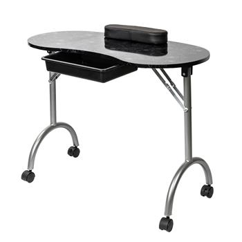 Portable MDF Manicure Table with Arm Rest & Drawer Salon Spa Nail Equipment Black