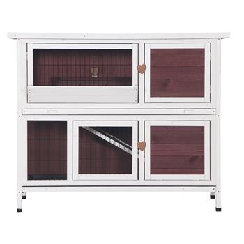 "48"" Two Floors Wooden Rabbit Hutch Rabbit Hutch Chicken Coop House Wooden White Brown"
