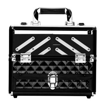 SM-1923 ABS / Acrylic / Checkered Portable Cosmetic Case Aluminum Cosmetic Case Black