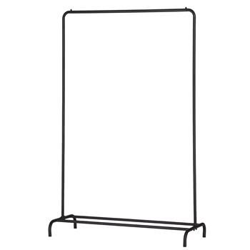 Black Clothing Garment Rack Heavy Duty Commercial Grade Clothes Stand Rack with Top Rod and Lower Storage Shelf