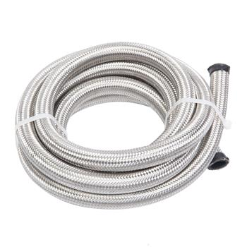 10AN 10-Foot Universal Stainless Steel Braided Fuel Hose Silver
