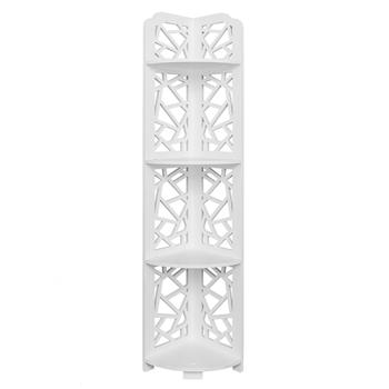 Baroque Carving Style Waterproof 120-Degree Angle 4 Layers Bathroom Cabinet Shelf White