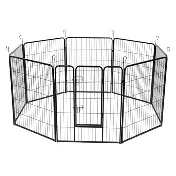 "40"" Dog Pet Playpen Heavy Duty Metal Exercise Fence Hammigrid 8 Panel Black"