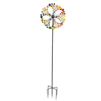 Wrought Iron Windmill-Colorful Round
