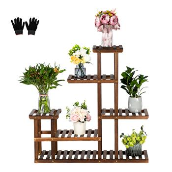 Artisasset 5 Floors 10 Seats Indoor And Outdoor Multifunctional Carbonized Wood Plant Stand