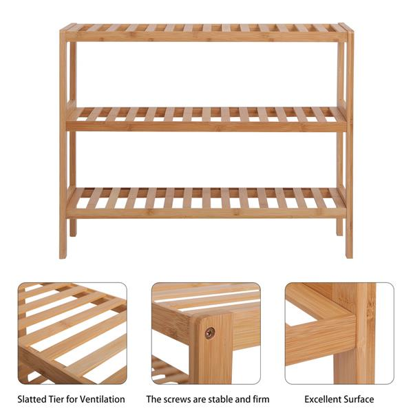 100% Bamboo Shoe Rack Bench, Shoe Storage, 3-Layer Multi-Functional Cell Shelf, Can Be Used For Entrance Corridor, Bathroom, Living Room And Corridor 70 * 25 * 55 - Natural
