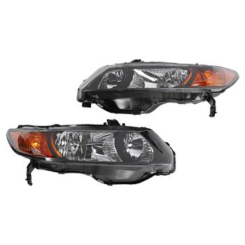 2pcs Front Left Right Headlights for Honda Civic 2006-2011 2dr Coupe Models Only Black
