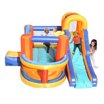 Inflatable Bounce House,Slide Bouncer with Basketball Hoop, Climbing Wall, Large Jumping Area, Ideal Kids Jumper