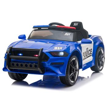12V Kids Ride On Car ,Police sports car,2.4GHZ Remote Control,LED Lights,Siren,Microphone,Blue