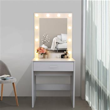 FCH Single Drawer Dresser with Light Cannon and Large Mirror White Warm Light