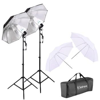 "Kshioe 45W Two Lights 33"" White Umbrellas 33"" Silver Black Umbrellas Holders Set US plug White & Bla(Do Not Sell on Amazon)"