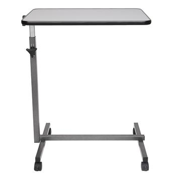 Multifunctional Adjustable Bedside Table MDF/Iron/4 Wheels With Brake, Silver Grey
