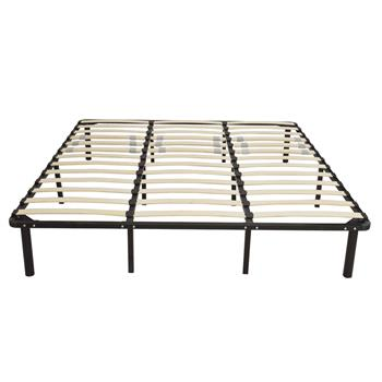 79*75*14 Wooden Bed Slat and Metal Iron Stand King Size Iron Bed Black
