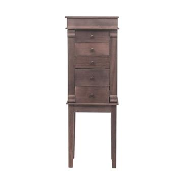 Standing Jewelry Armoire with Mirror, 5 Drawers & 8 Necklace Hooks, Jewelry Cabinet Chest with Top Storage Organizer , 2 Side Swing Doors(Brown)