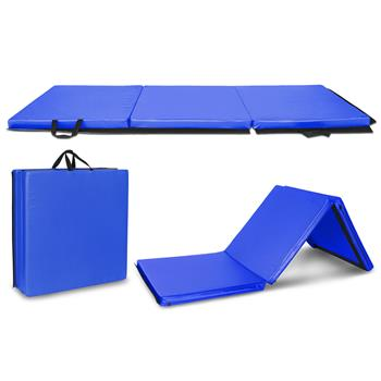 "6'x2'x2"" Tri-fold Gymnastics Yoga Mat with Hand Buckle Blue"