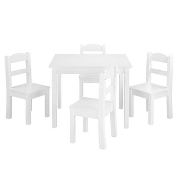 Kids Wood Table & 4 Chairs Set White