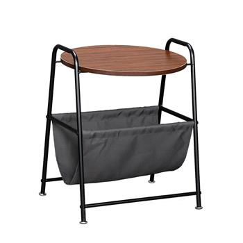 HODELY Wood Color Two-Layer Trapezoidal Belt Oxford PVC Waterproof Cloth Book Bag Wrought Iron Side Table