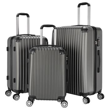"3-Piece 20"" & 24"" & 28"" Luggage Set Travel Bag ABS Trolley Spinner Suitcase with TSA Lock Silver Gray"