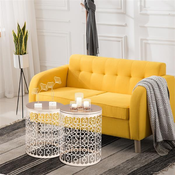 Artisasset Round Metal Countertop And Cross Base Wrought Iron Living Room Side Table Golden