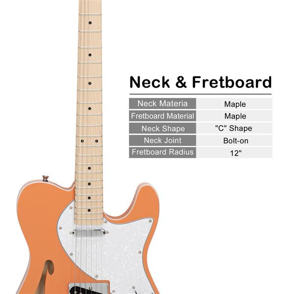 Glarry GTL Semi-Hollow Electric Guitar F Hole SS Pickups Maple Fingerboard White Pearl Pickguard Orange-red