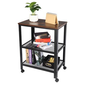 Industrial Serving Cart, 3-Tier Kitchen Utility Cart on Wheels with Storage for Living Room, Wood Look Accent Furniture with Metal Frame